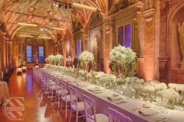 A catering setup for a wedding reception at Villa Corsini a Mezzomonte