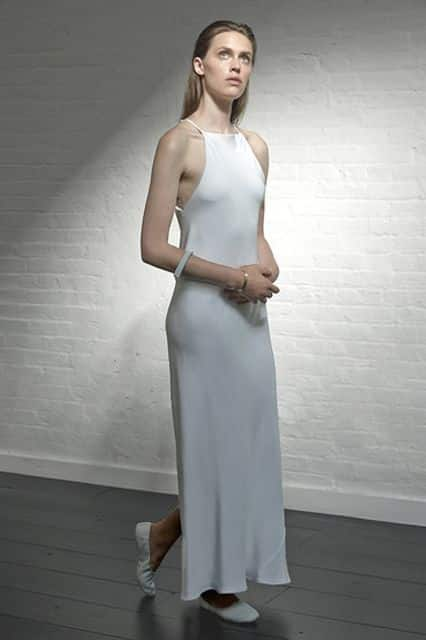 long minimal wedding dress