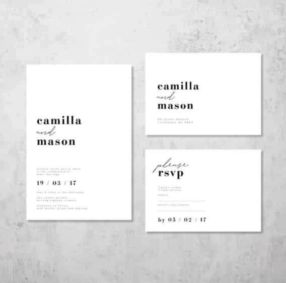 Minimal chic invitation for wedding